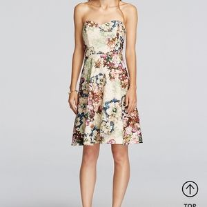 David bridal  short lace dress w floral print sz16